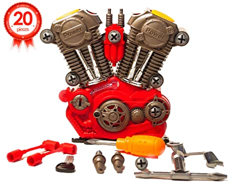 Take Apart Engine Toy Pretend Play Set – Build Your Own Engine Motor Kit  Toy – 20 Take-A-Part Pieces With Realistic Lights, Sounds And Toy Tools For