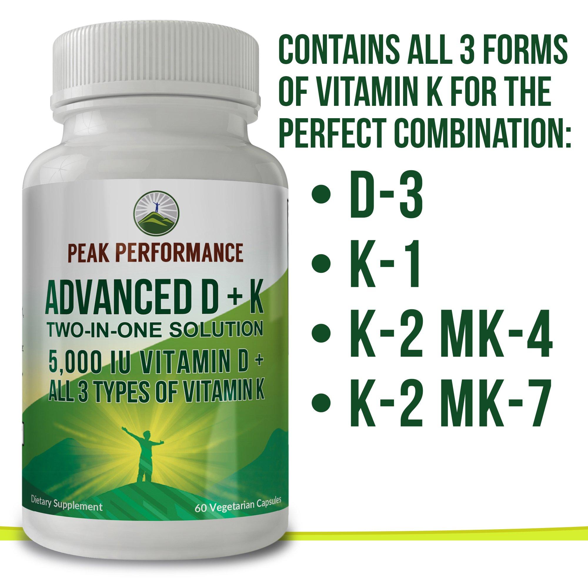 ADVANCED Vitamin D 5000 IU + ALL 3 Types Of Vitamin K By Peak Performance. Vitamin D3 and Vitamin K2 MK-7 (MK7) K2 MK4 K1 Supplement! 60 Small & Easy to Swallow Vegetable Capsules / Pills (5000 IU) by Peak Performance Coffee (Image #9)