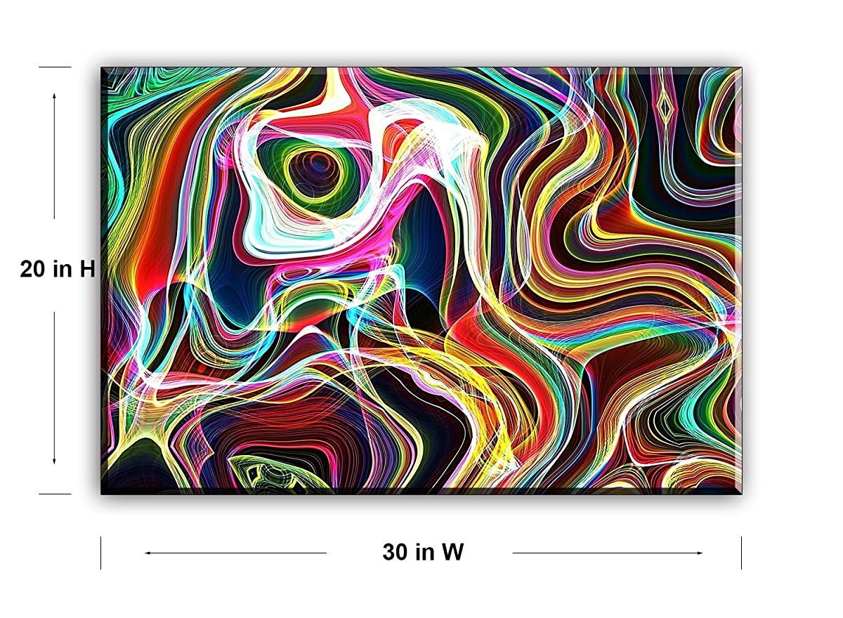 Contemporary Lines Canvas Wall Art, Modern Abstract Flowing Curves Canvas Prints for Living Room, 1 Piece Ready to Hang Wall Decor