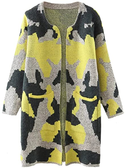 Milumia Women's Camouflage Pattern Long Cardigan With Pockets at ...