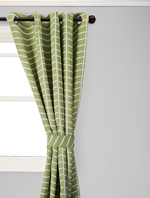 Best Home Fashion Room Darkening Chevron Print Curtains - Stainless Steel Nickel Grommet Top - Avocado