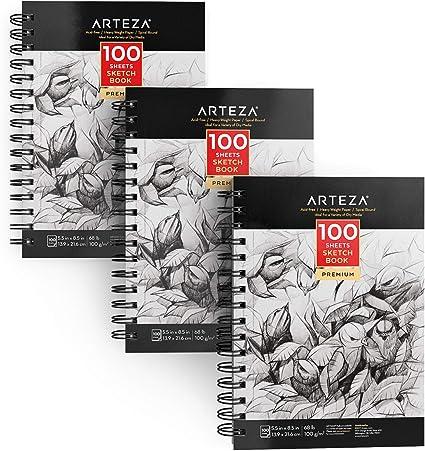 Arteza Cuadernos de dibujo | Pack de 3 blocs en espiral de doble anilla | 100