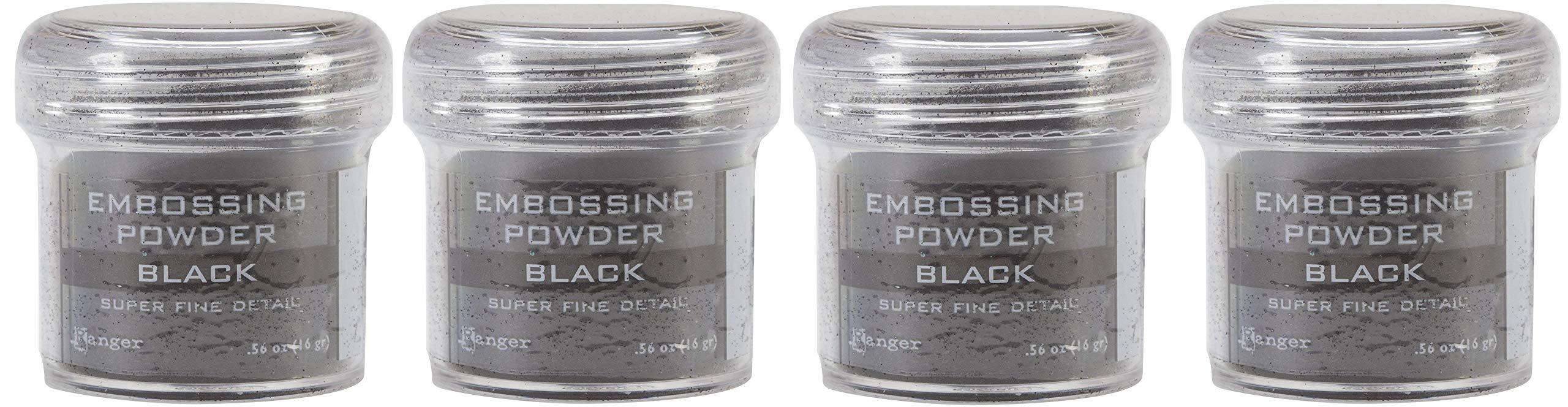 Ranger Embossing Powder.56 Ounce Jar, Black (4-(Pack))