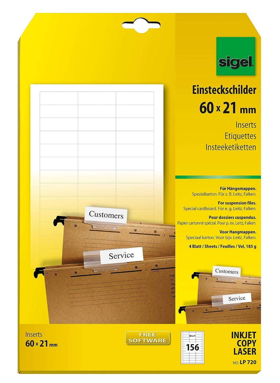 A4, 156 Stück, 60x21... Sigel LP720 Blankoschilder für Hängeregistratur weiß