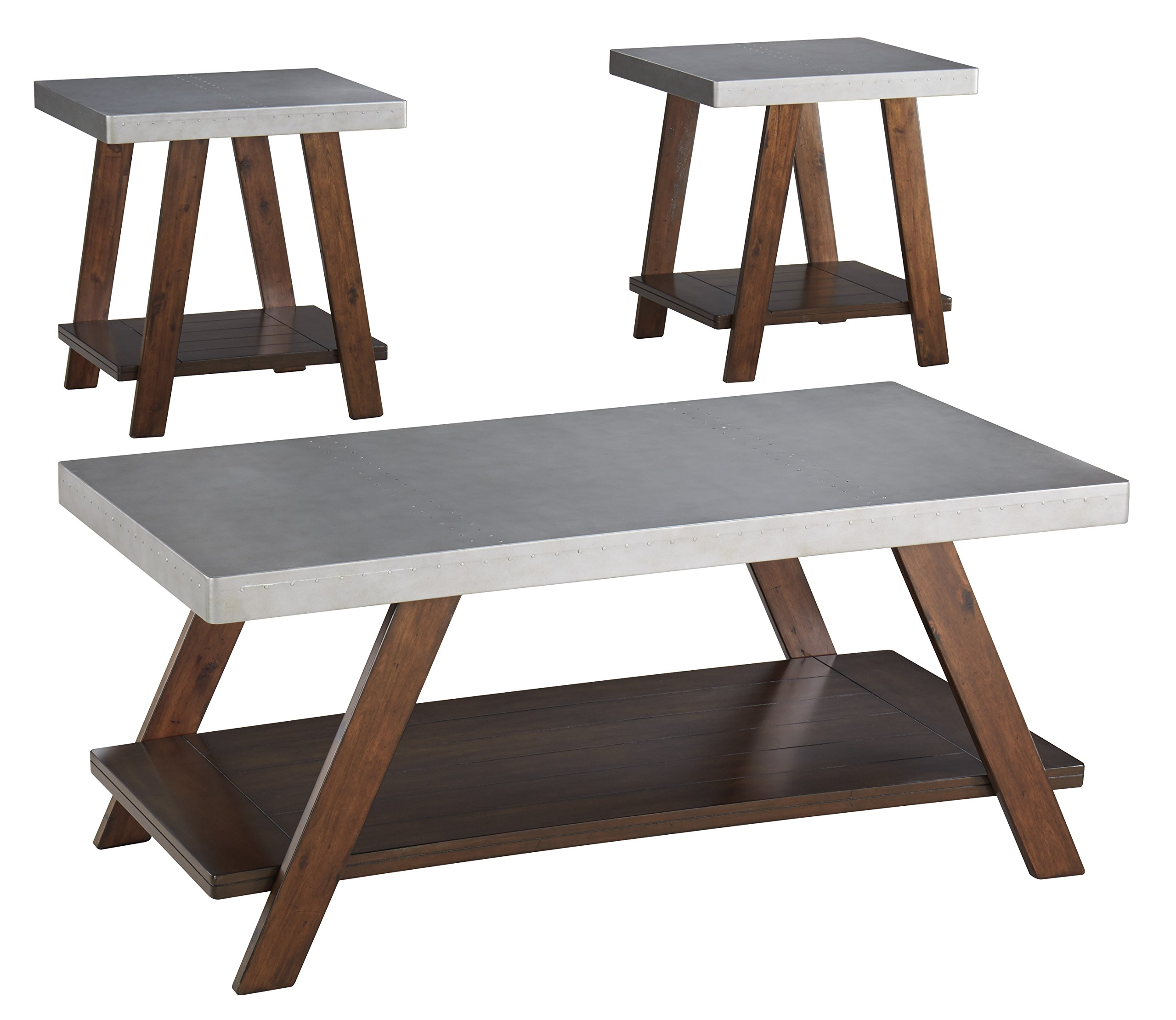 Ashley Furniture Signature Design - Bellenteen Casual 3-Piece Table Set - Includes Cocktail Table & Two End Tables - Brown/Silver by Signature Design by Ashley