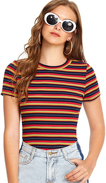 1970s Shirts, Tops, Blouses, T-Shirt Styles | History Milumia Womens Casual Multi Striped Ribbed Short Sleeve Solid Tee Knit Top $17.99 AT vintagedancer.com