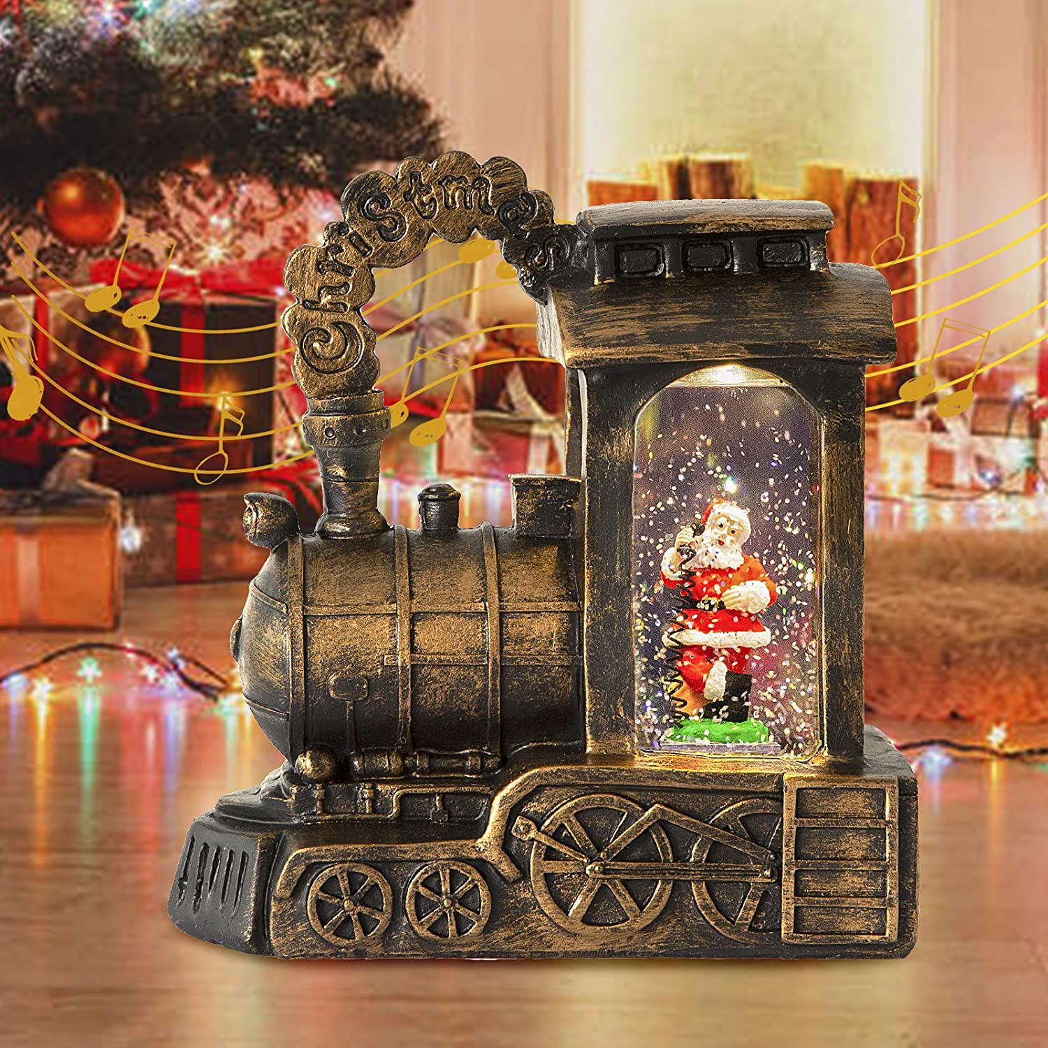 Lighted Musical Christmas Lantern - Retro Snow Globe Train Lantern with Swirling Glitter for Christmas Home Decor, Tabletop Decorative, Gifts - Battery Operated & USB Operated (Santa)