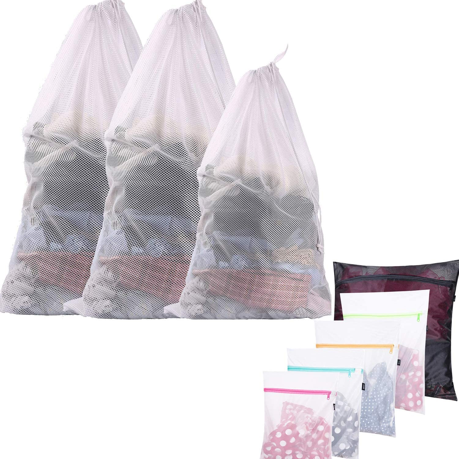 BAGAIL Pack of 50 Velvet Hangers and 5 Pieces Mesh Laundry Bags for Your Washing and Hanging Needs