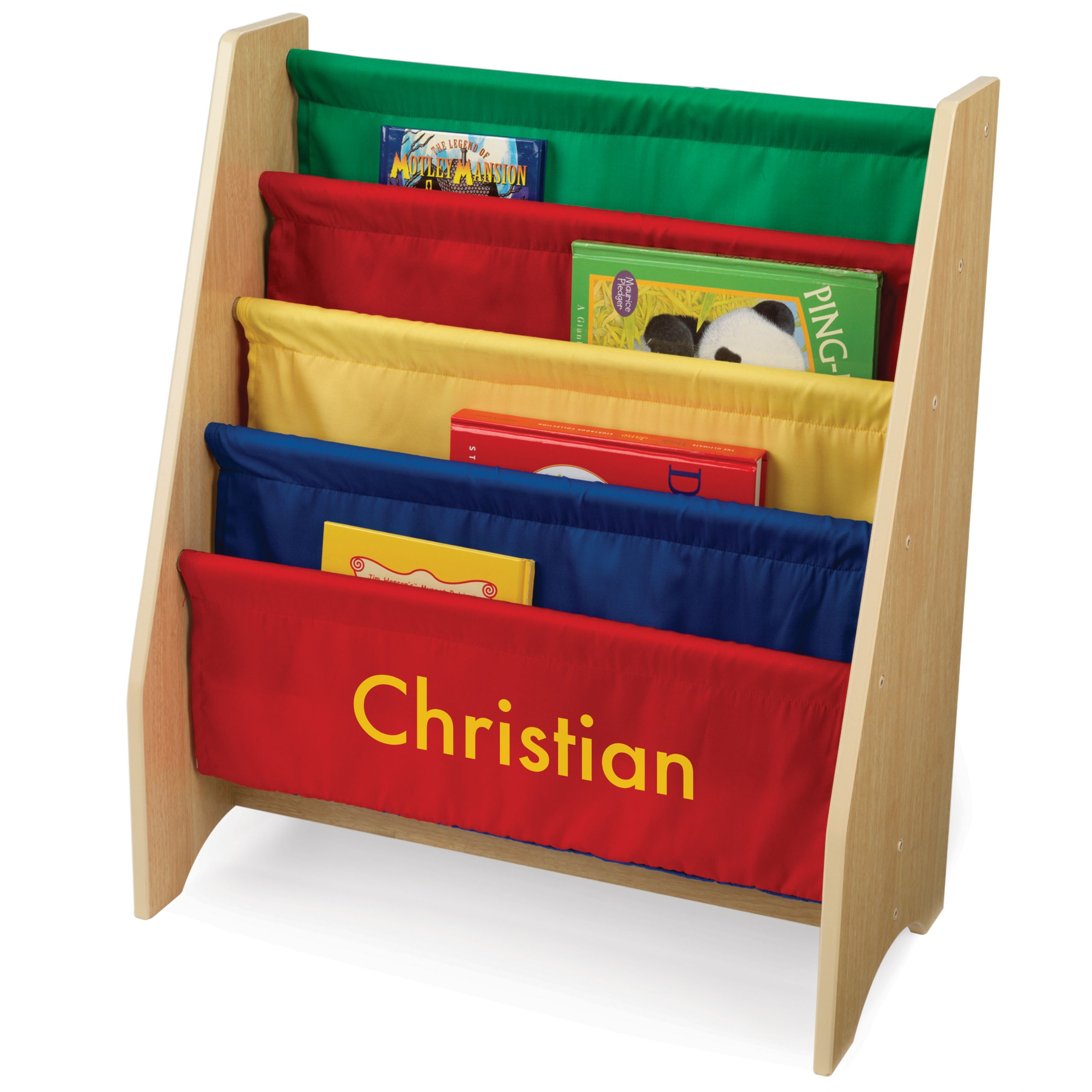 KidKraft Personalized Primary Sling Bookshelf with Yellow Block - Christian by KidKraft
