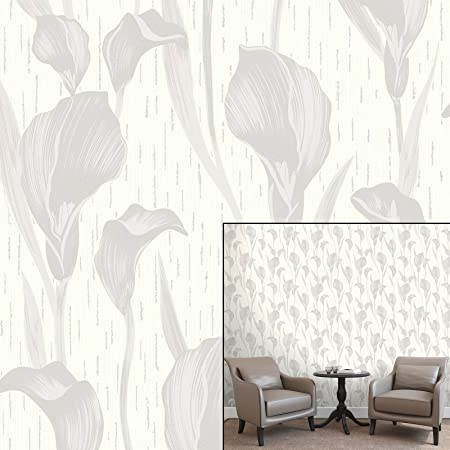 Crown Cala Lily Dove Grey Grey Luxury Textured Wallpaper Amazon Co