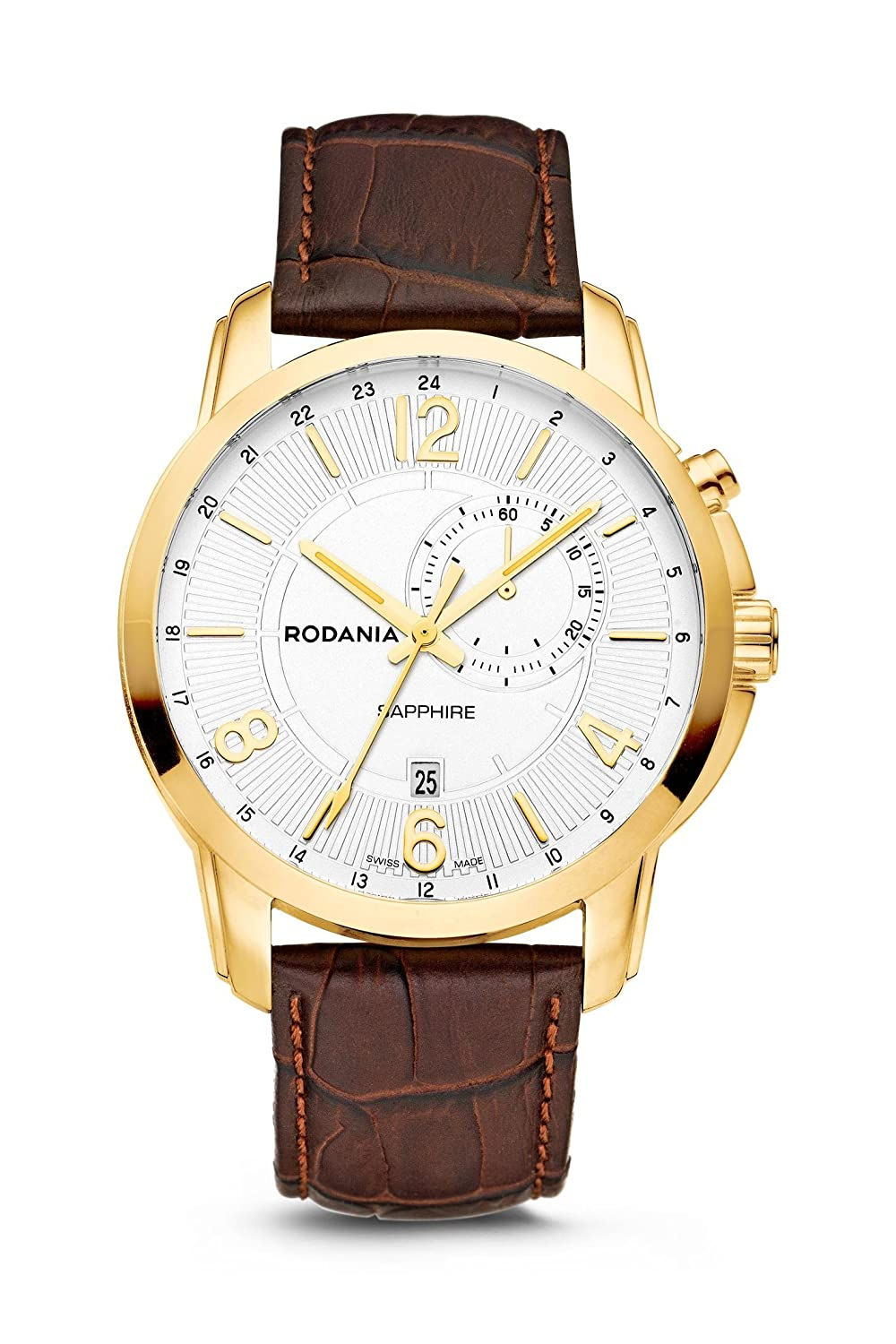 RODANIA - Travel Herrenuhr - vergoldet Ø 44 mm