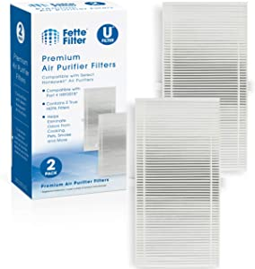 Fette Filter 2 Pack of True Hepa Filters Compatible with HRF201B Honeywell Dual Action Hepa Type Replacement Filter U for Tabletop & Tower Models HHT270W & HHT290 Series & Febreze FRF101B & FRF102B