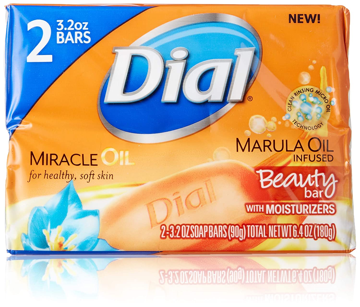 Dial Miracle Oil Bar Soap - 2 (3.2 oz.) Bars with Marula Oil