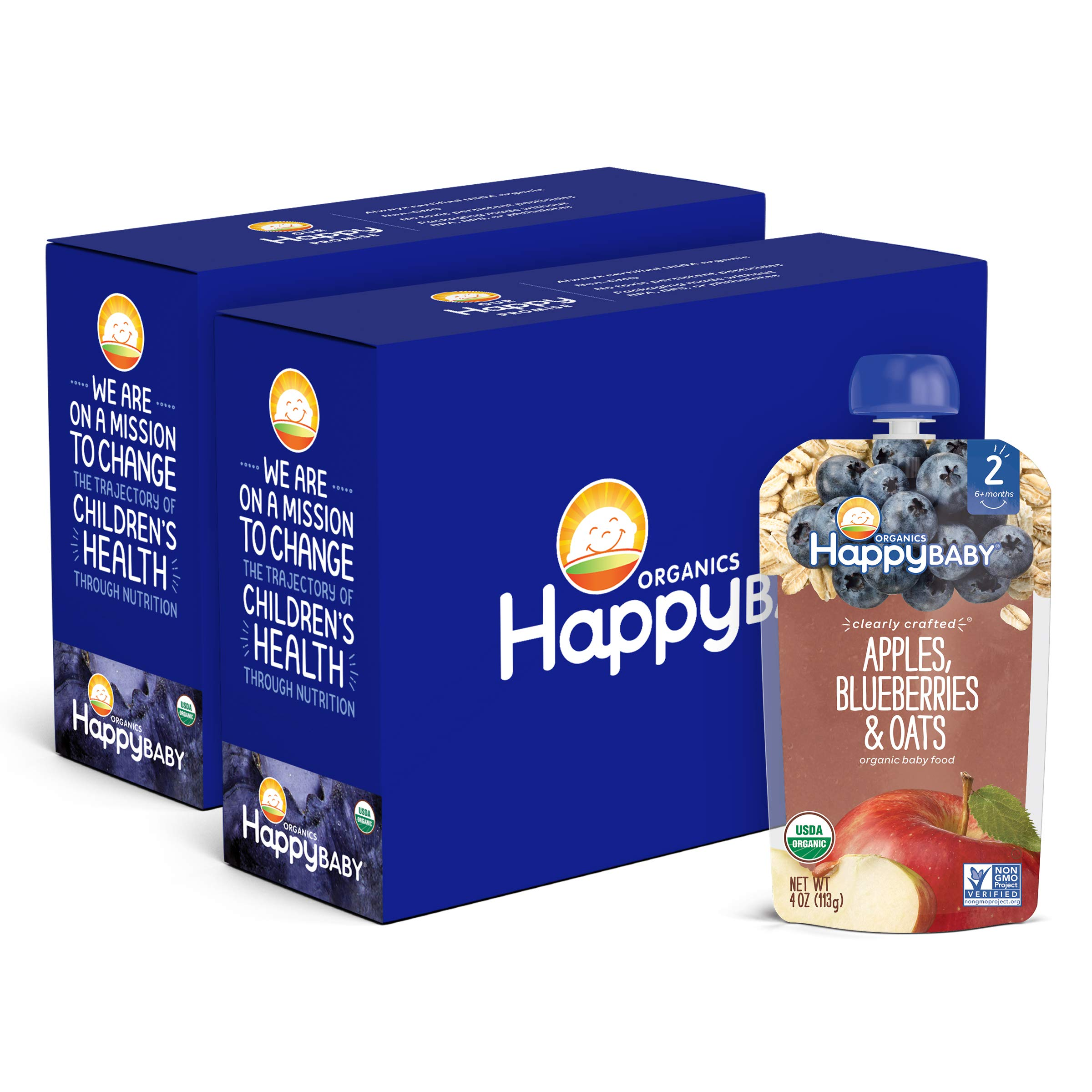 Happy Baby Organics Clearly Crafted Stage 2 Baby Food Apples, Blueberries & Oats, 4 Ounce Pouch (Pack of 16)