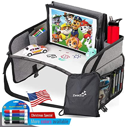Kids Travel Tray a Car Seat Tray Travel Lap Desk Accessory for Your Childs Rides and Flights Yellow its a Collapsible Organizer that Keeps Children Entertained Holding Their Toys