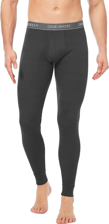 DAVID ARCHY Mens 2 Pack Soft Cotton Thermal Pants Rib Stretchy Base Layer Thermal Underwear Bottoms Long Johns Leggings