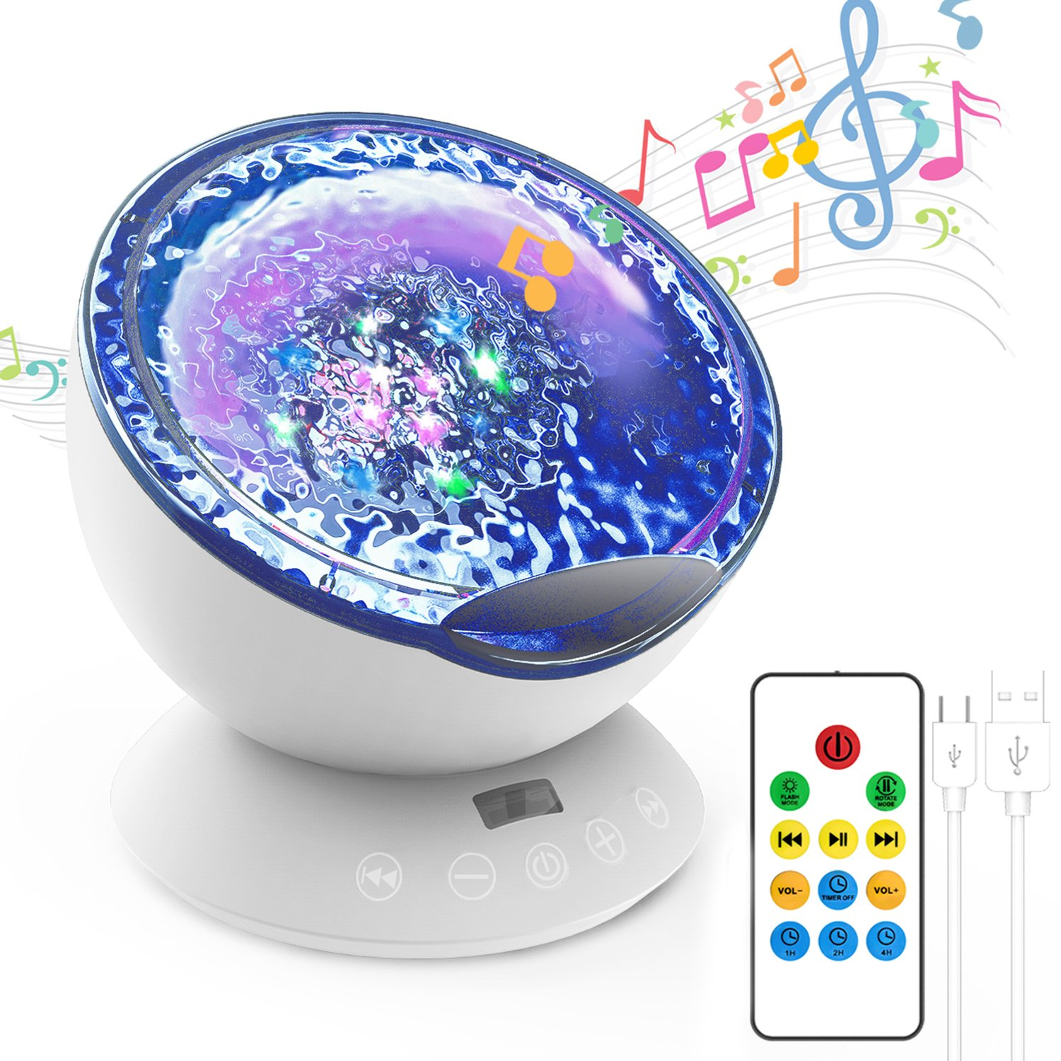 Kids Night Light Projector Ocean Wave,Remote Control Lamp Built-in Mini Music Player with 12 LED & 8 Modes& 45°Angle Nightlight Mood Sleeping Light for Baby Nursery Bedroom Living Room (Black) WHATOOK
