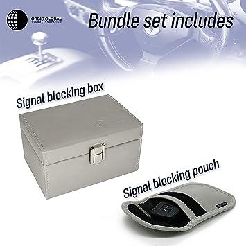 Orbis Global Faraday Box & Faraday Bag Combo Keyless Car Keys Signal Blocker, Anti Theft Faraday Cage Fob Keyless Signal Jammer, Fob Protector- Gray