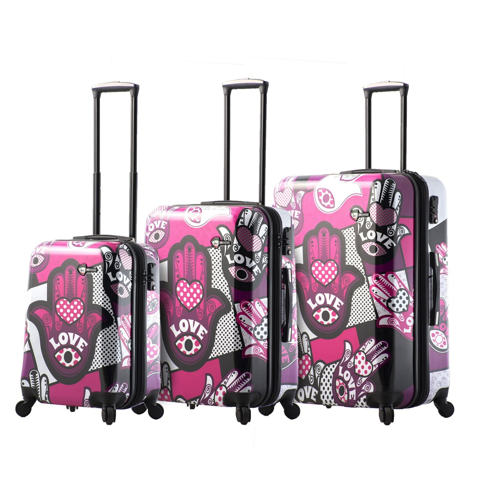 Mia Toro Italy Hamsa Love Monochrome Hard Side Spinner Luggage 3pc Set, Pink