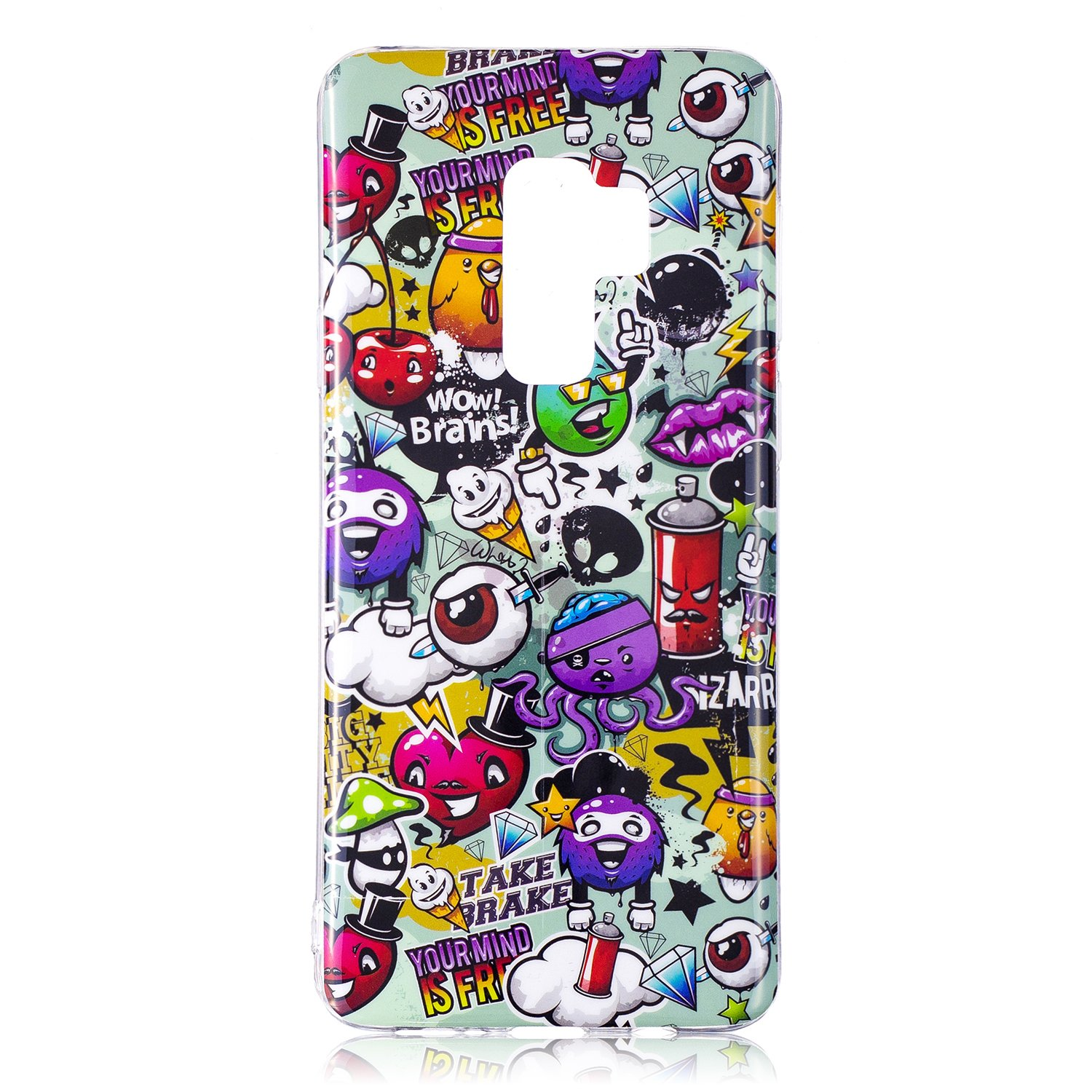 Galaxy S9 Case, For [S9 ], MerKuyom Durable Lightweight IMD [Slim-Fit] Flexible Gel Soft TPU Case Skin Cover For Samsung Galaxy S9 5.8-inch, W/Stylus (Cartoon Graffiti Pattern)