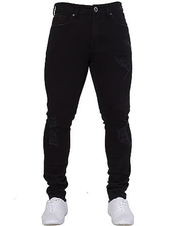 9c44ff1f New ENZO Mens Skinny Super Stretch Fit Ripped Denim Jeans All Waist Blue  Black White (