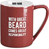 "Pavilion Gift Company Man Made""With Great Beard Comes Great Responsibility"" Coffee Mug, 18 oz, Red"