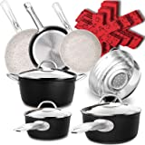Dealz Frenzy Stone Ultra Non-Stick Induction Cookware Set,16 Pieces Marble Mineral Coating Pots and Pans Set…