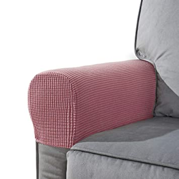 Chun Yi Set Of 2 Stretch Polyester Sofa Armchair Armrest Covers Slipcovers Furniture Protector Spandex Fabric Jacquard Anti Stain Washable Couch Arm