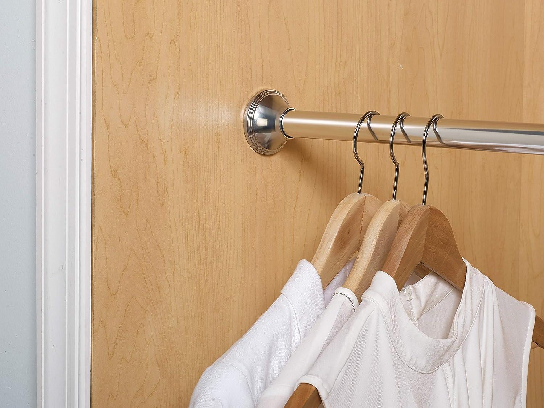 Chrome Zenna Home Neverrust Aluminum Decorative Tension Shower Rod 54 to 88-Inch