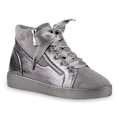 58e42992e1 Damen Sneakers Sneaker-Wedges Zipper Satinoptik Freizeit Schuhe 145910 Grau  Zipper 36 Flandell