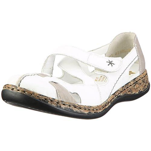 Daisy 46367-80 - Sandalias cerradas con cierre de velcro para mujer, color blanco, talla 42 Rieker