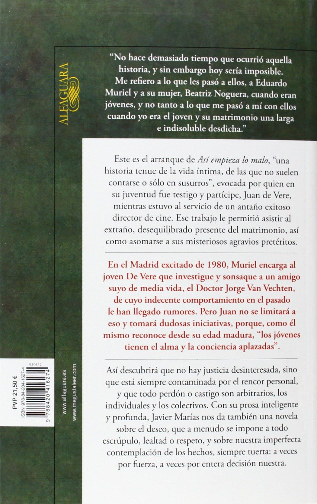 Así empieza lo malo (Hispánica): Amazon.es: Marías, Javier ...