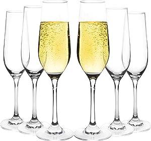 JEKOSEN Champagne Flutes 100% Lead-Free Clear Crystal Stemware Set of 6 Champagne Glass 8oz