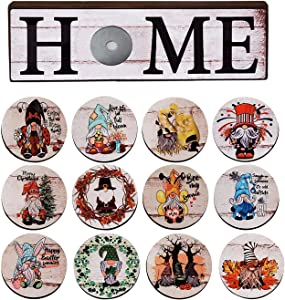 Home Gnome Signs Decor,Rustic Wood Home Sign with 12 Pieces Interchangeable Holiday Signs Signs Home Wooden Sign Table Top Shelf Decor Decor for Front Porch Wall Outside Garden Indoor Home Decorations