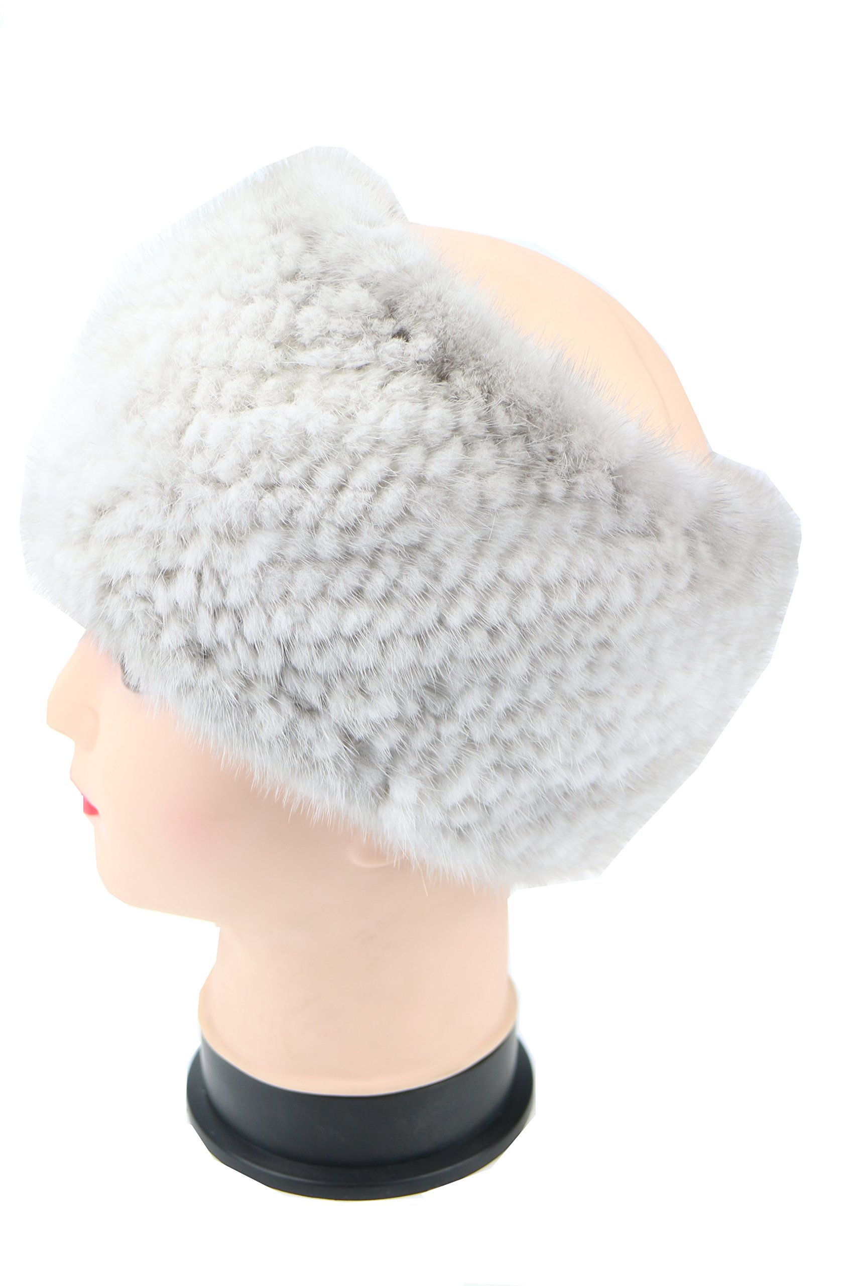 Ysting Women Tight Knitted Mink Fur Headband Neck Warmer Warp Snood Mink Fur Hat (G)
