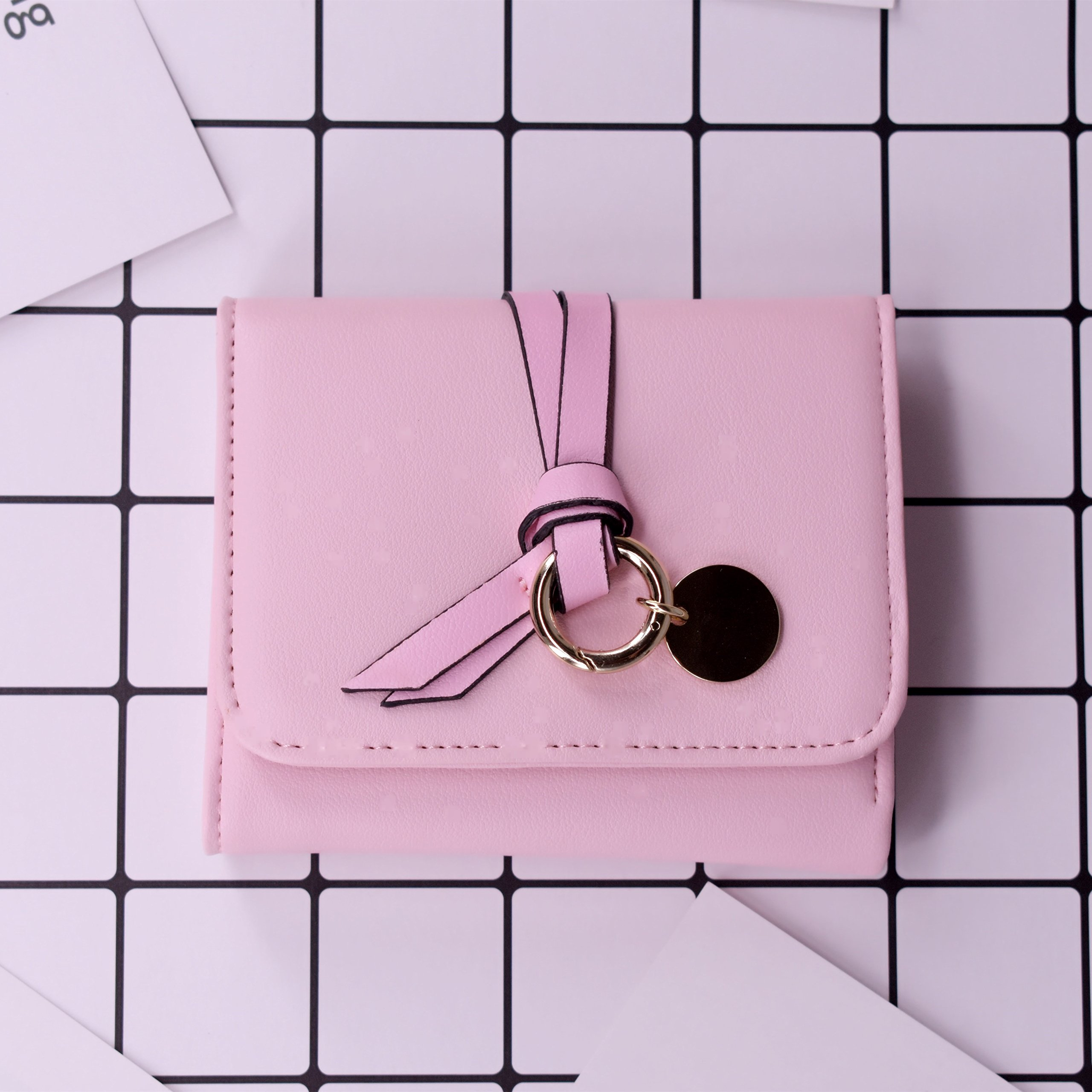 ABC STORY Womens Cute Pink Purse Card Holder Small Trifold Wallets For Teen Girls by ABC STORY (Image #3)