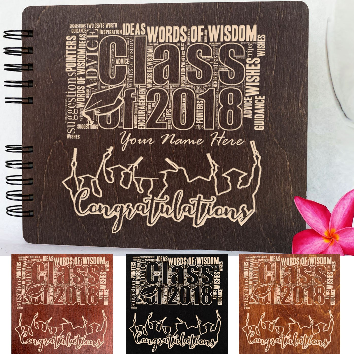 Wooden Graduation Guest Book (Personalized-Customized) Made in USA Wood Rustic Graduation Gifts Photo Album Party Supplies Decorations Polaroid Photo Guest Book