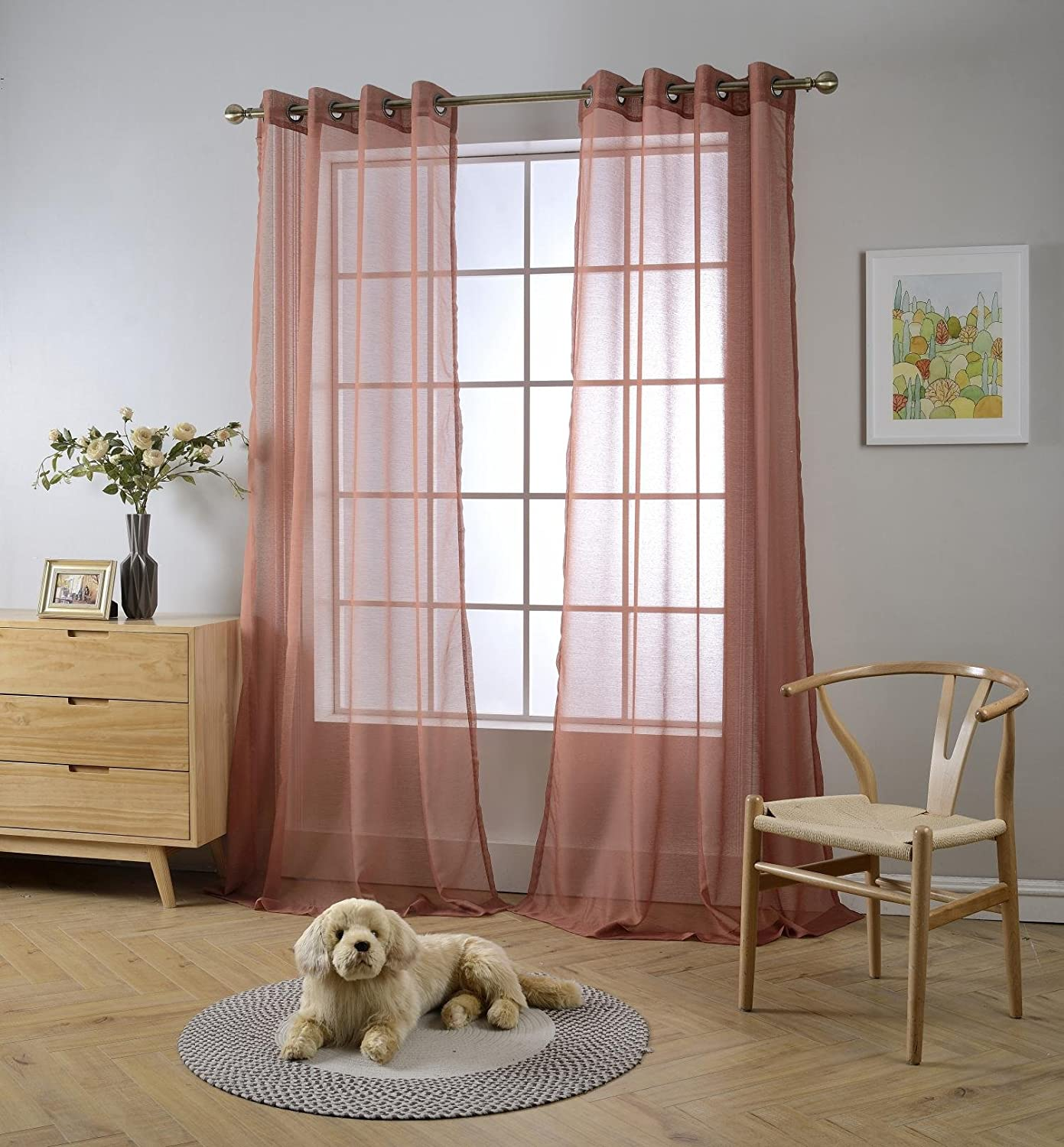 "Miuco 2 Panels Grommet Textured Solid Sheer Curtains 84 Inches Long for Living Room (2 x 54 Wide x 84"" Long) Rust"