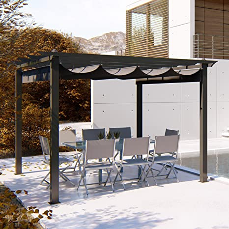 JFB - Carpa de 3 x 3 m, estructura de aluminio y tela de poliéster, color gris: Amazon.es: Jardín