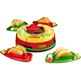 Nostalgia Taco Tuesday Heated Lazy Susan Topping Bar Perfect for Burritos, Nachos, Fajitas, 20-Oz. Warming Pot, Includes…