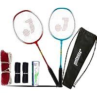 Jaspo GT 303 Pro Red/Blue Badminton Set(2 Badminton Racket and 5 Feather Shuttle Cork,1 Carry Bag,1 Grip,1 Badminton net…