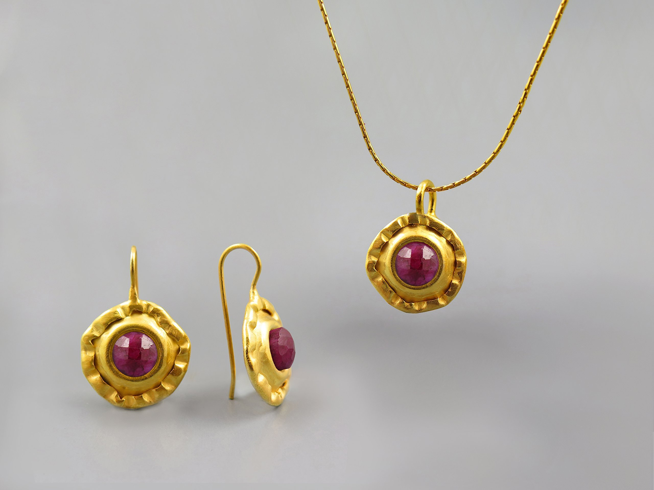 Red Ruby Gemstone Round Jewelry Set For Women 24K Gold Plated July Birthstone Jewelry Ruby Necklace Pendant Earring Set Gift for Women Ruby Jewelry Genuine Natural Stone Jewelry Unique Gift For Her