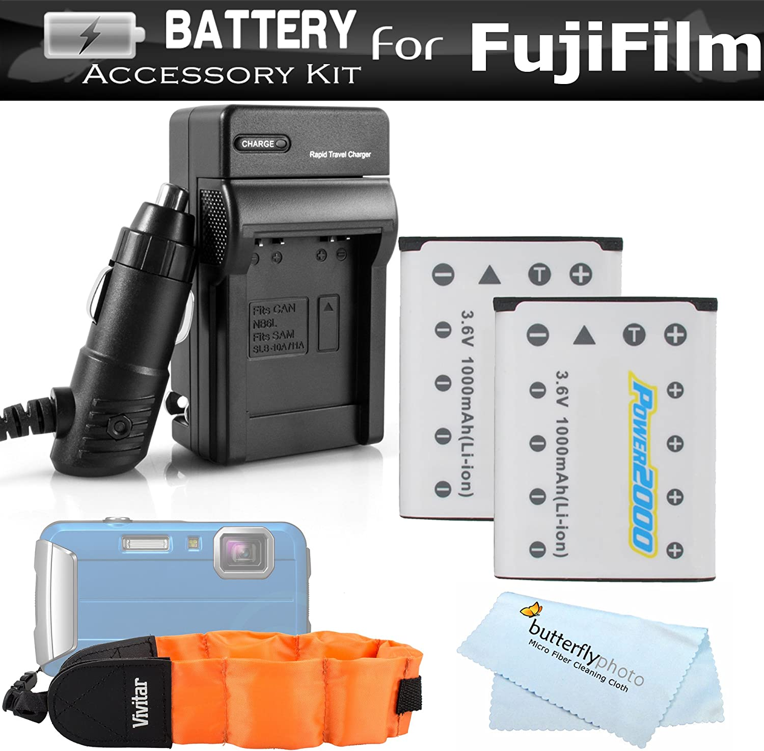 XP90 2 Pack Battery And Charger Kit For Fujifilm FinePix XP70 XP80 Ac//Dc Charger NP-45s Batteries More Float Strap XP120 Waterproof Digital Camera Includes 2 Replacement Fuji NP-45A 1000Mah