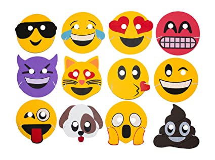 M Products Online Emoji Party Supplies 24 Foam Masks