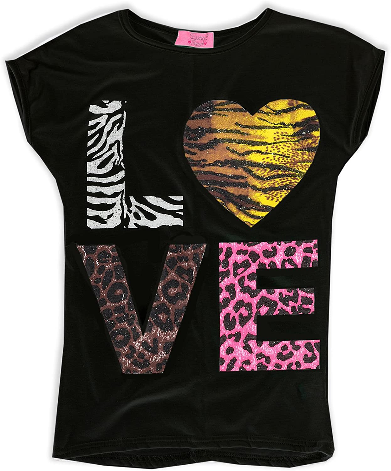 JollyRascals Girls Love T-Shirt White Black Summer Top Kids New Outfit Ages 5 6 7 8 9 10 11 12 13 Years