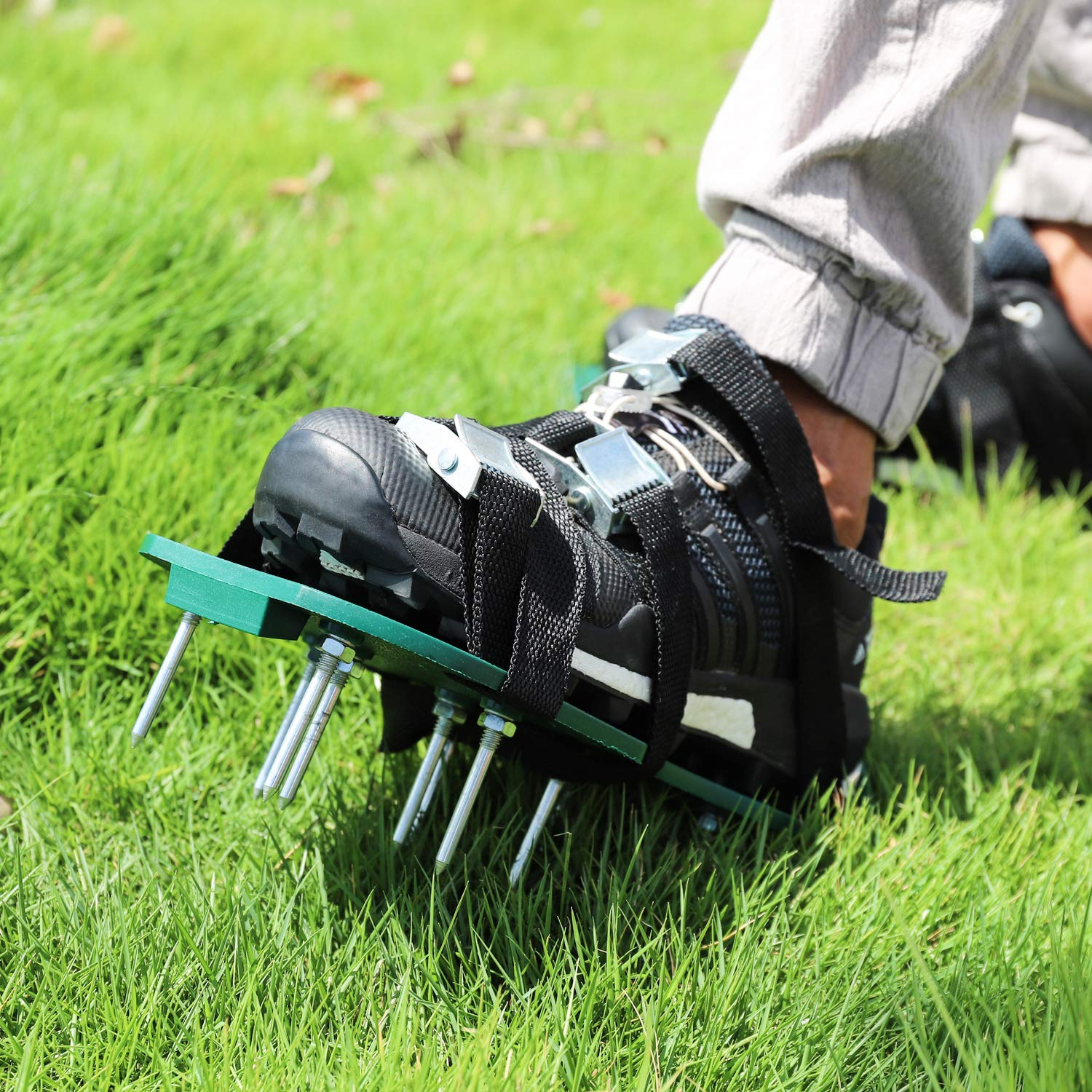 Wistar Lawn Aerator Shoes Metal Buckles and 3 Straps Heavy Duty Spiked Sandals for Aerating Your Lawn or Yard Universal Size That Fits All