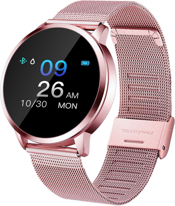 Adsvtech Smartwatch, Impermeable Reloj Inteligente Mujer Hombre, Pulsera Actividad Inteligente Reloj Deportivo Reloj Fitness con Monitor de sueño Pulsómetro Cronómetros para iOS Android (Rosado)