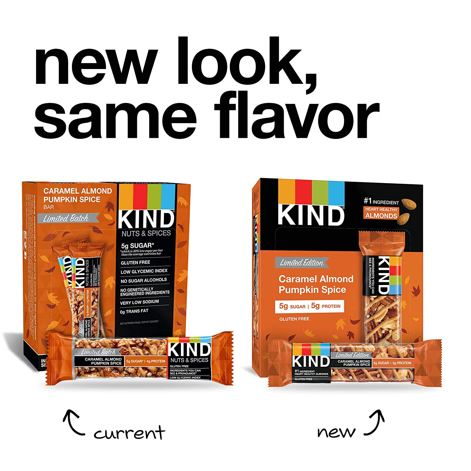 KIND Bars, Caramel Almond Pumpkin Spice, Gluten Free, 1 4 Ounce Bars, 12  Count (Packaging May Vary)