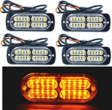 12-24V 20-LED Super Bright Emergency Warning Caution Hazard Construction Waterproof Amber Strobe Light Bar with 16 Different Flashing for Car Truck SUV Van White Blue 4PCS