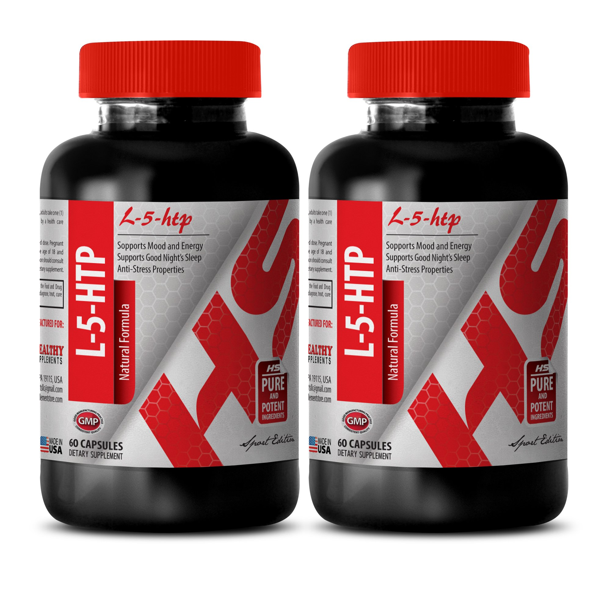 L-5 hydroxy tryptophan 200mg - 377 MG L-5-HTP NATURAL FORMULA - increase brain serotonin (2 Bottles)